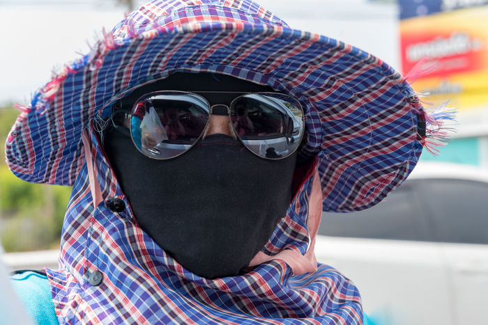 Street vendor in Bangkok, Thailand. Bangkok Thailand. Cap Casual Clothing Close-up Day Exhaust Focus On Foreground Front View Fumes Headshot Land Vehicle Lifestyles Mode Of Transport One Person Outdoors Sky Standing Street Vendors Sunglasses Transportation Vacations Wearing