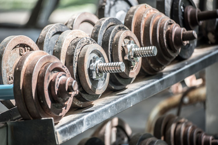 Close-up of rusty dumbbell