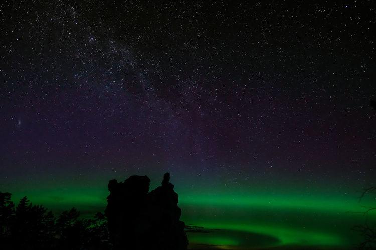 Aurora rauk Aurora Nature Northern Lights Sweden Astronomy Galaxy Gotland Milky Way Nature Night Outdoors Rauk Silhouette Sky Star - Space Starry Tree