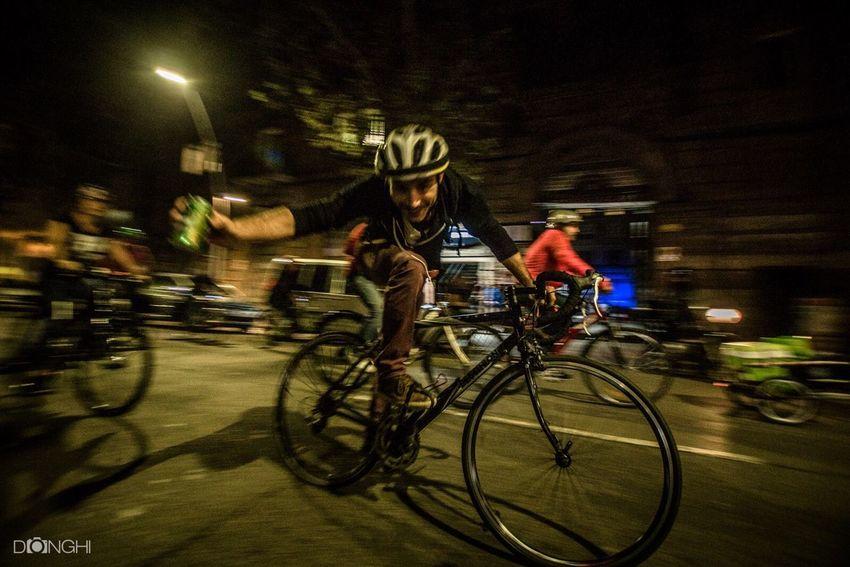 Night Bicycle Critical Mass Criticalmass Barcelona Razzmatazz Illuminated Motion Blurred Motion City Street