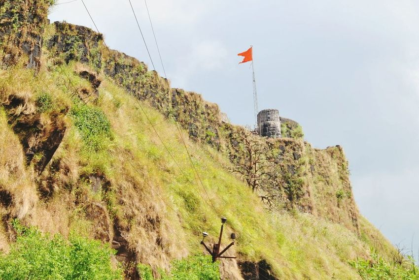 Flag Patriotism Waving No People Outdoors Tree Nature Architecture Sky Day Greenery Red Flag Fort Panchgani, Maharashtra,india Panchgani Travel Destinations