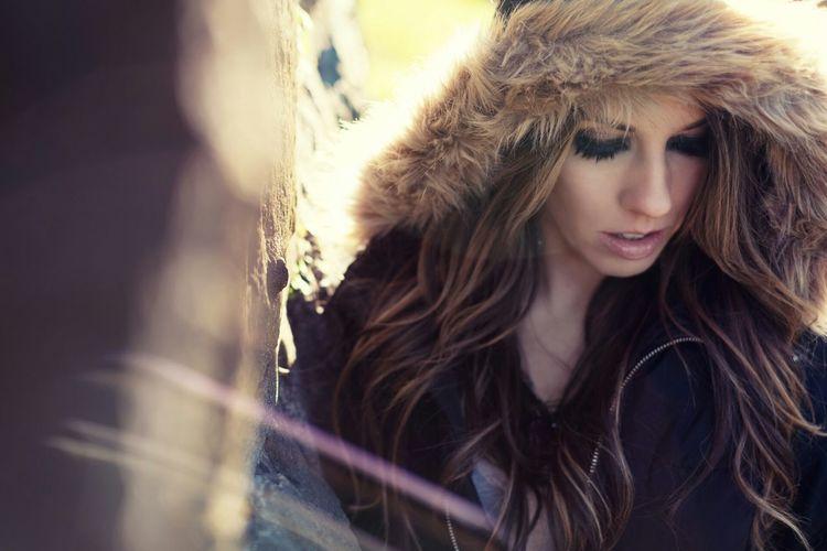 View of beautiful woman in fur jacket