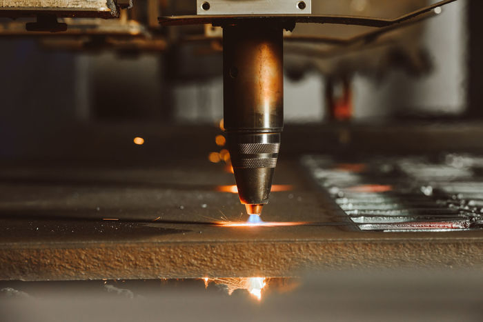 Laser cutting Automatic Close-up Cutting Day Factory Gas Indoors  Industry Laser Cutting Manufacturing Equipment Metal Metal Industry No People Robot Steel Steel Structure  Working