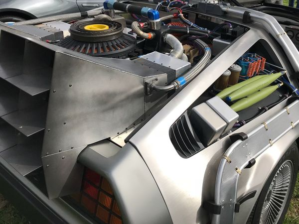 BTTF 1980s MOVIE Time Travel Doc Brown Marty McFly De Lorean DeloreanDMC Time Machine Technology Indoors  No People Modern Manufacturing Equipment Close-up Day