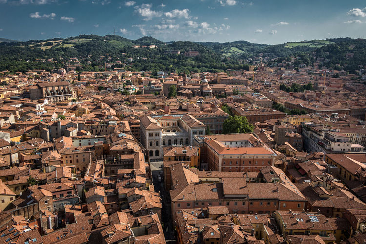 Bologna, Italy Bologna Bologna, Italy Italia Architecture Building Building Exterior Built Structure City Cityscape Day High Angle View Italy Mountain Outdoors Residential District Roof Sky Sunlight Town TOWNSCAPE
