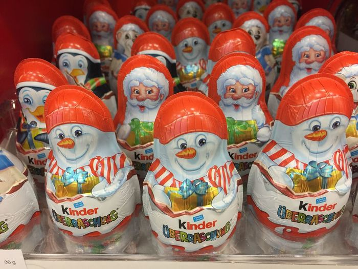 Kinder Chocolate Christmas figurines and eggs. Kinder Chocolate is a confectionery product brand line of Italian confectionery multinational Ferrero SpA No People Retail  In A Row Collection Choice Close-up Figurine  Market Christmas Christmas Food Sweet Food Sweet Foods Christmas Food Sweets Consumerism Tradition Traditional Chocolate Chocolate♡ Kinder Xmas Kinder Surprise Christmas Figures Christmas Figurine Large Group Of Objects For Sale Toy Retail Display Sale Creativity