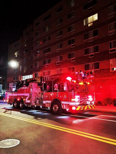 1:41am Firefighter Fire Transportation Night Street City Building Exterior Mode Of Transportation Architecture
