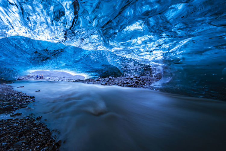 Scenic view of frozen cave