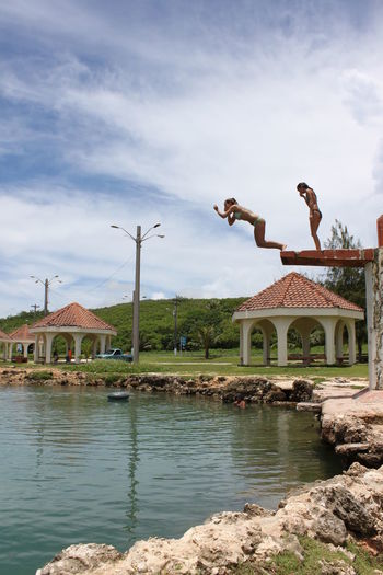Diving Board Jumping Leisure Activity Nature Sky Travel Destinations Vacation Water