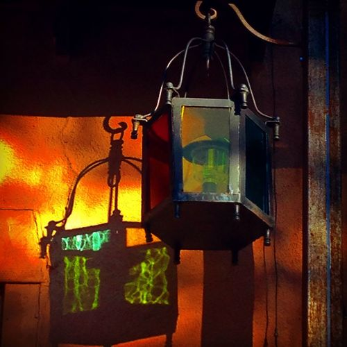 Lamp Wrought Iron Colors Colored Glass Reflections Colored Reflections Wall Texture Rough Surface Warm Colors Canyon Road Late Afternoon Light