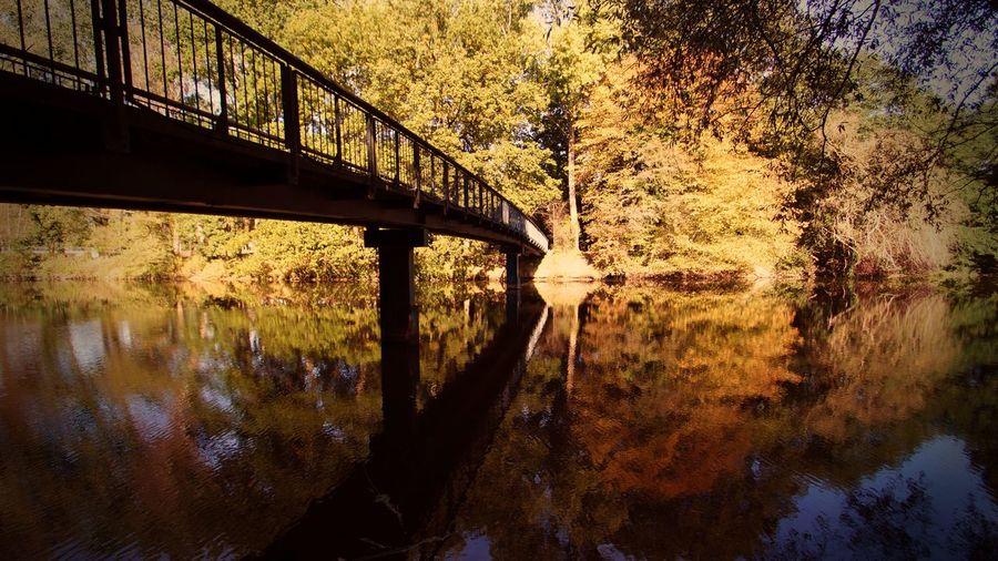 Telgte Brücke Spiegelung Fluss Flusslandschaft Herbst Herbststimmung Herbstfarben Telgte Münsterland Fotografie Lost In The Landscape