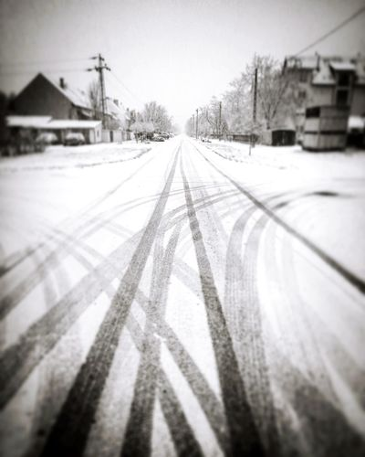 Roads Gettyimages Strong Hungary Sale Premium Forsale Davidnagy Picoftheday Landscape Photography Bestoftheday Getting Inspired Today's Hot Look Winter Snow Cold Temperature Railroad Track Transportation Weather Train - Vehicle Rail Transportation No People Outdoors Snowing Tire Track Day Nature Snowflake Desaturated Sky Shades Of Winter