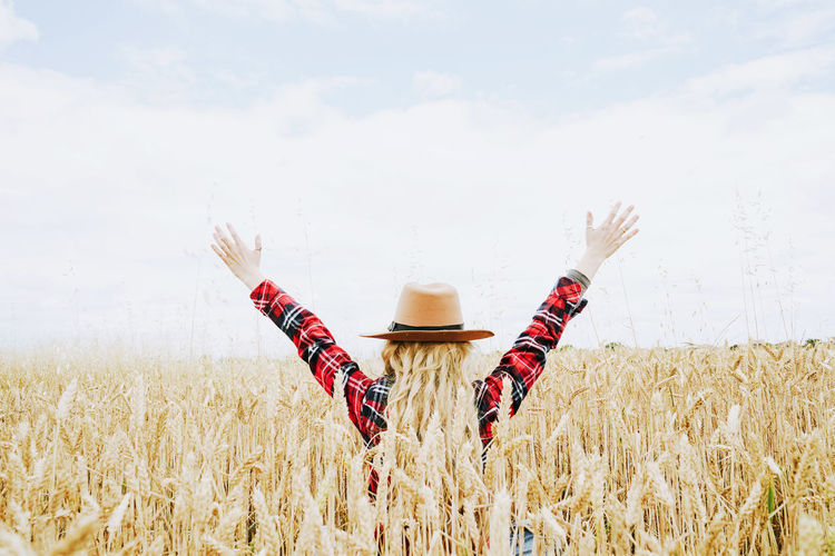 Field Sky Land Agriculture Crop  Hat Plant Landscape Cereal Plant Farm Nature Day Rural Scene Growth One Person Cloud - Sky Real People Clothing Wheat Scenics - Nature Outdoors Backgrounds Cowboy Hat Countryside