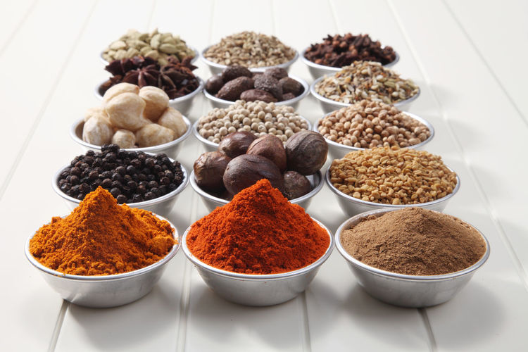 Close-up of various spices in bowl on table