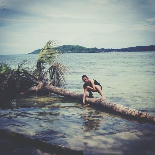 Because surfin a board is too mainstreem Palmtree Surfing In Some Kind Of Way Bocas Del Toro