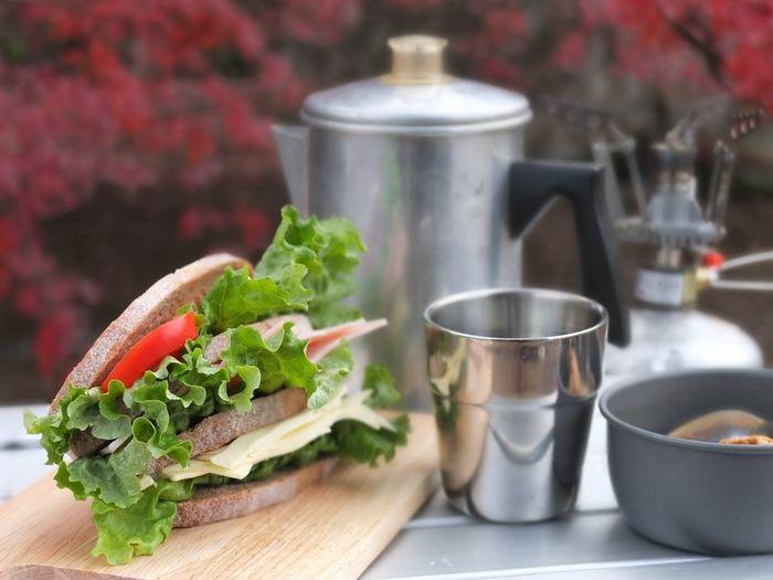 朝ごはん(^-^)オーブのライ麦パンでハム・チーズ・トマト・グリーンカールのサンド♩おいしい!!けど・・・野菜高いわよねぇf^_^;) Orb Bakery パン屋 Bakery Coffee Time