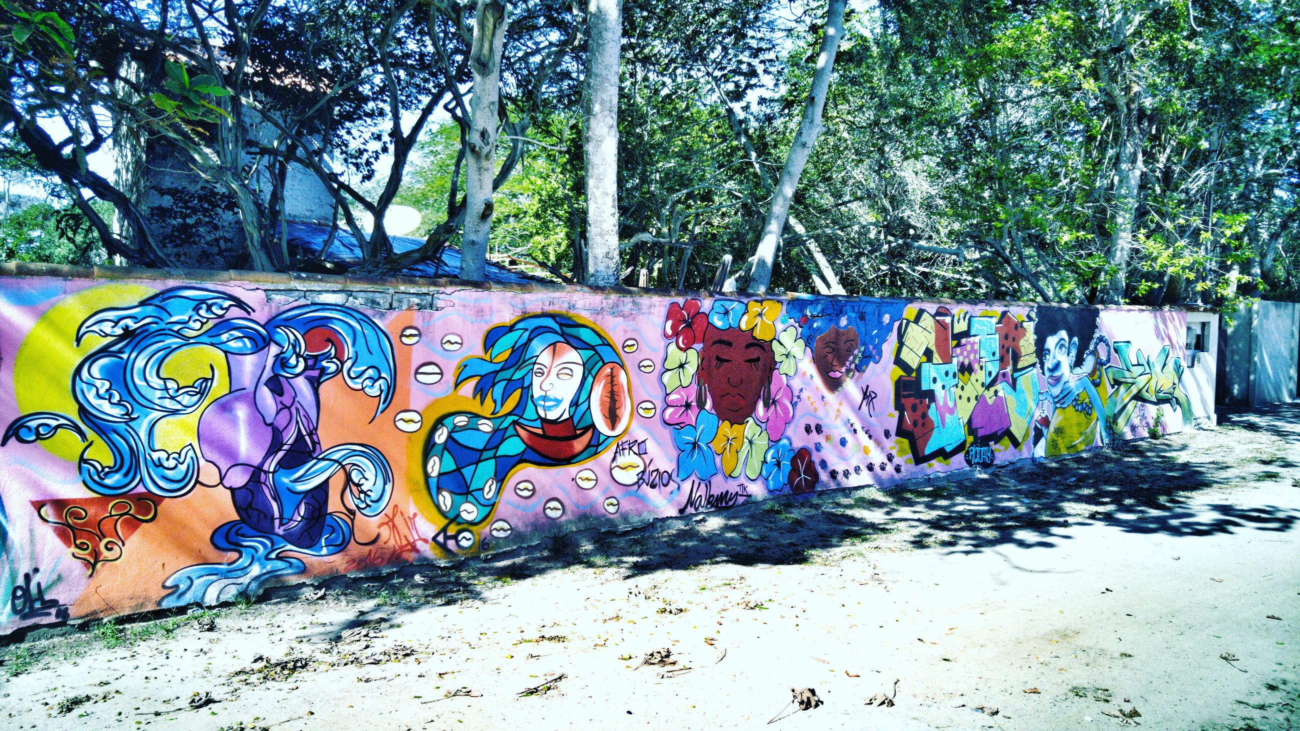 graffiti, multi colored, art, tree, creativity, wall - building feature, street art, day, no people, outdoors, blue, colorful, nature, growth, green color, close-up