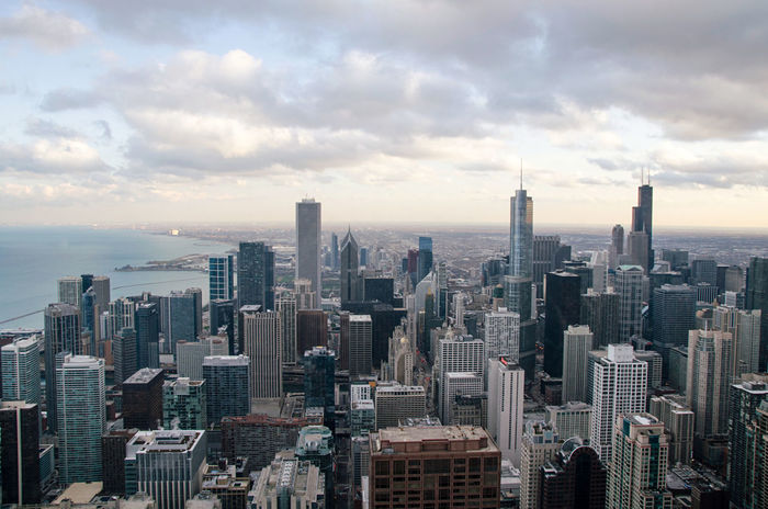 Chicago Aerial View Architecture Building Exterior Chicago City Cityscape Hancock High Angle View Sky Skyscraper Sunset Travel Destinations Urban Skyline Willis Tower- Skydeck