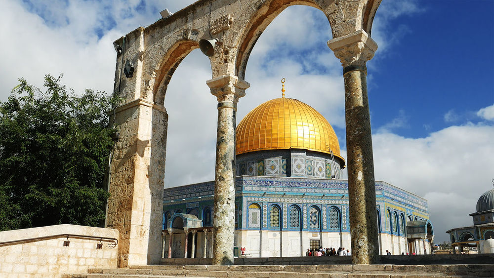 Arch Architecture Building Exterior Built Structure Cloud - Sky Day Dome Dome Of The Rock Dome Of The Rock Jerusalem History Low Angle View No People Outdoors Place Of Worship Religion Sky Spirituality Travel Destinations Tree An Eye For Travel The Architect - 2018 EyeEm Awards