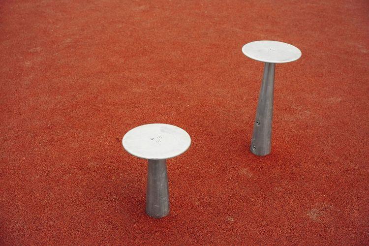 Bench Minimalism Minimal No People Abstract Round Round Shape Metal Metallic Red Orange Red Court Sport Close-up