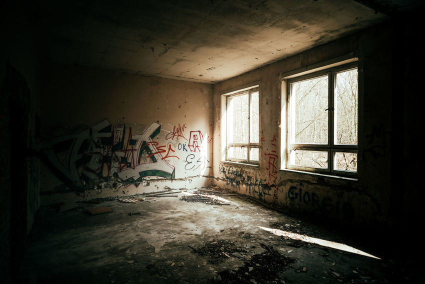 Abandoned in a forest Abandoned & Derelict Abandoned House Abandoned Places Decay Light Abandon_seekers Abandoned Abandoned Buildings Bleak Damaged Day Deserted Desolate Destruction Dirty Domestic Room Home Interior Indoors  Light And Shadow Messy No People Obsolete Old Ruin Run-down Window
