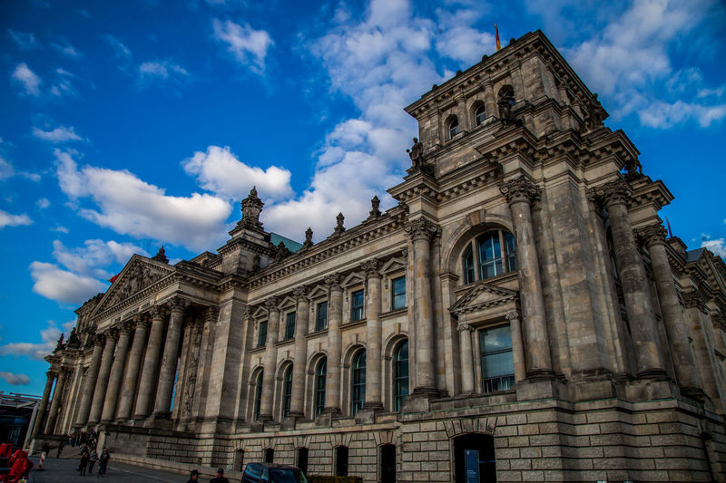 Low angle view of reichstag building against sky