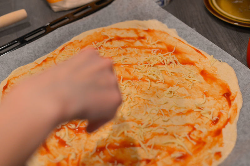 Making pizza at home Homemade Homemade Food Ingredients Pizza Dough Cheese Close-up Day Dough Food Food And Drink Freshness Human Body Part Human Hand Indoors  People Pizza Pizza🍕 Ready-to-eat Tomato