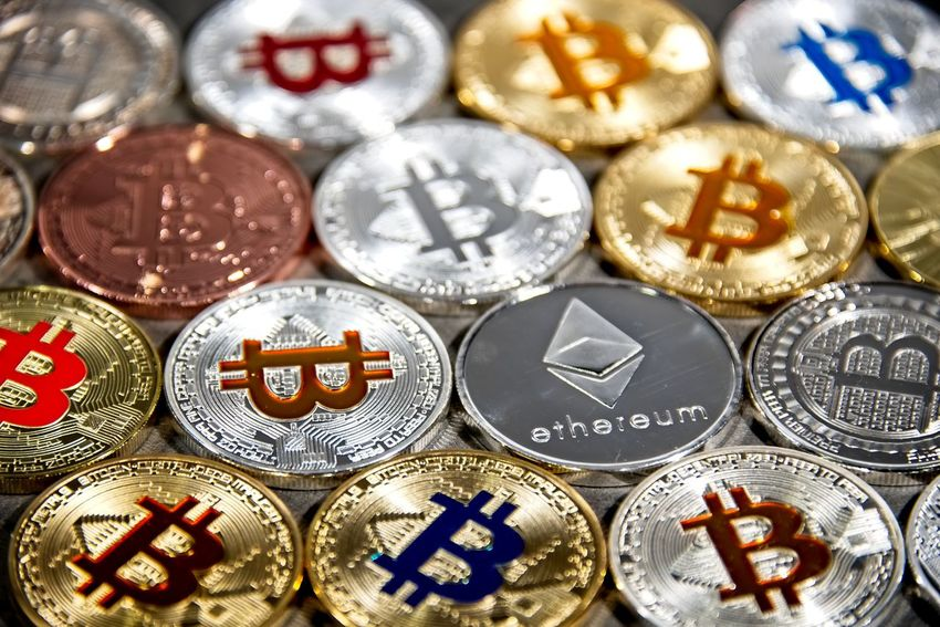 Shining gold and silver metal BTC and ETH, Bitcoin and Ethereum coins on grey background BTC Gold Taxi Virtual Reality Backgrounds Bitcoin Blockchain Business Coin Crypto Cryptocurrency Cryptography Digital Eth Ether Ethereum Exchange Finance Full Frame Luxury Metal Silver  Silver Colored Wealth