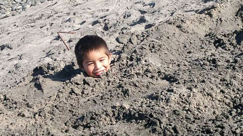 Child Smiling Innocence Fun Happiness One Boy Only Sand Playing Beach Summer Buried In Sand Childhood Done That.