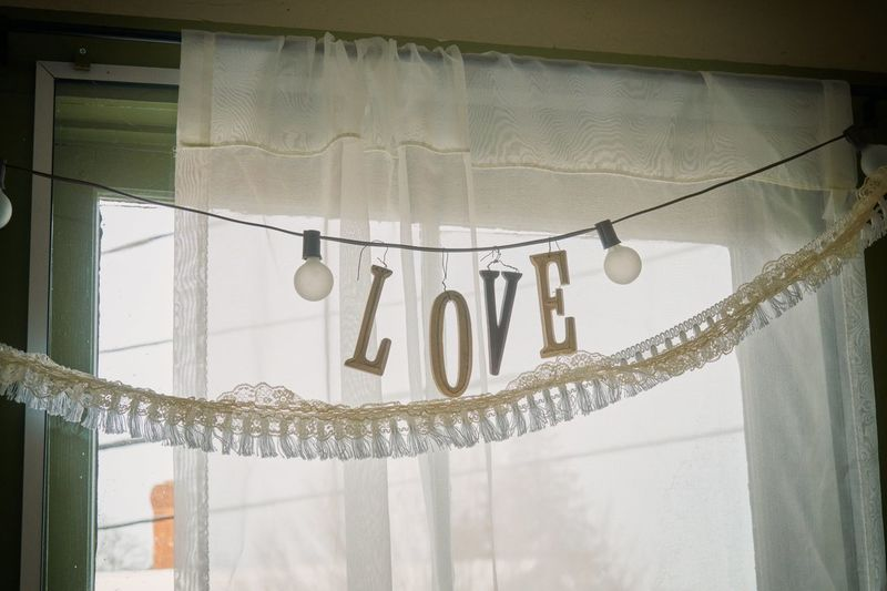 Low angle view of text on glass window