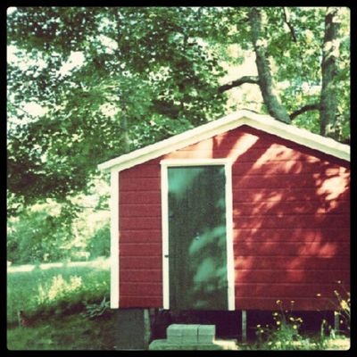 The playhouse. Also a cat. Backyard Home Red