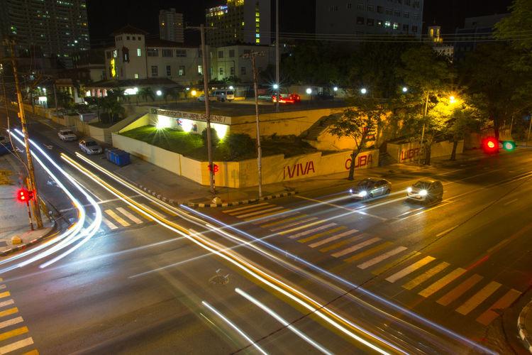 Havana night City Illuminated Street Light Light Trail Long Exposure Car Motion Speed Vehicle Light Tail Light Overpass Traffic Viaduct Headlight Stoplight Red Light