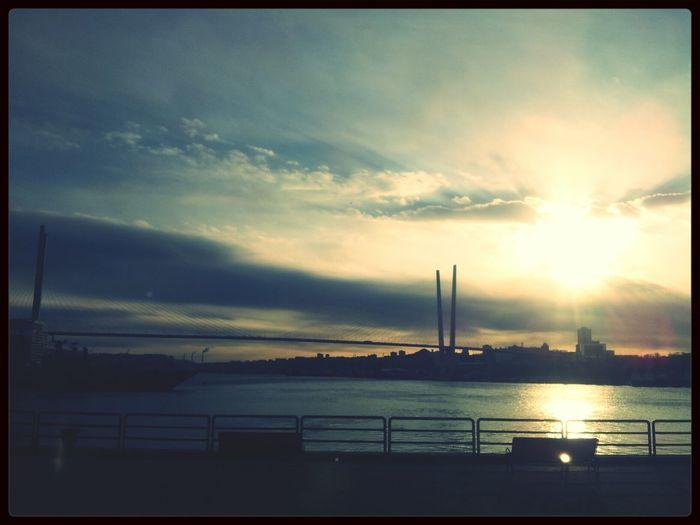 Gold Bridge Sunrise Vladivostok Bridge