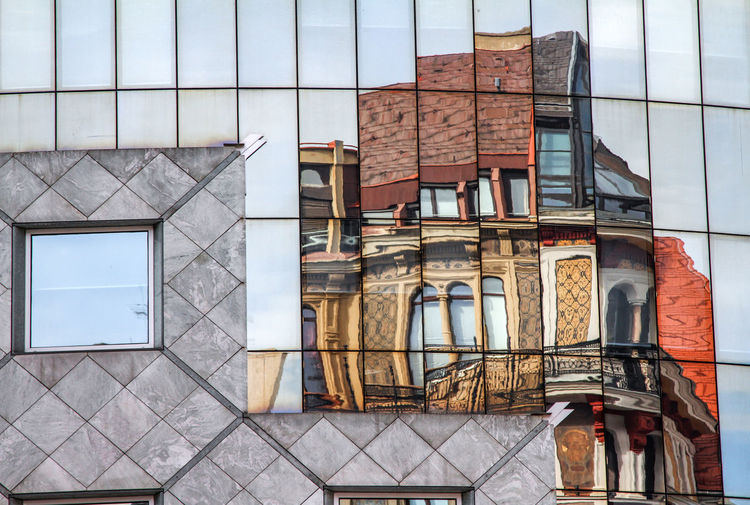 Reflection of building seen on mirror