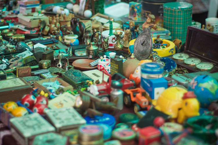 Art And Craft Choice Close-up Craft Creativity For Sale High Angle View Large Group Of Objects Multi Colored No People Representation Selective Focus Stall Still Life Toy Variation