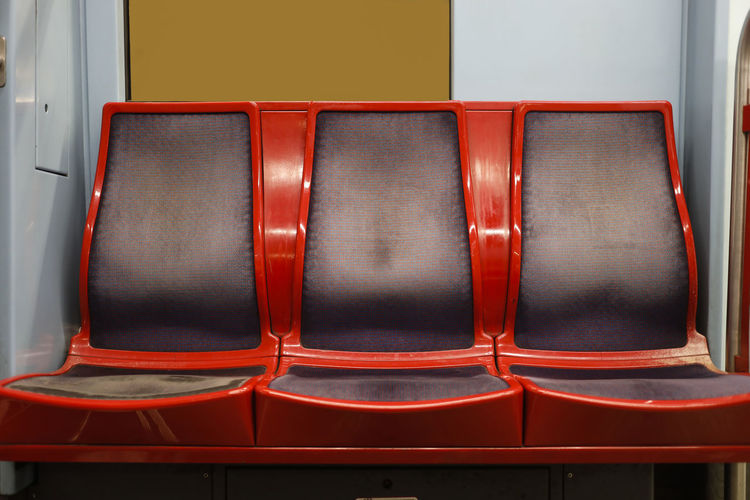 Red seat in train