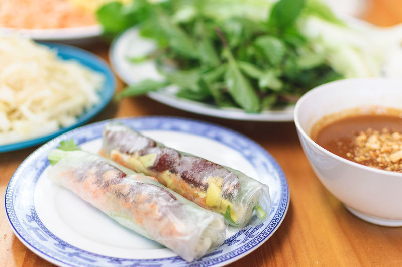 Asian Food Bo Bia Close-up Day Dipping Sauce Food Food And Drink Freshness Indoors  No People Peanut Butter Sauce Ready-to-eat Rice Paper Rolls Table Vietnamese Food