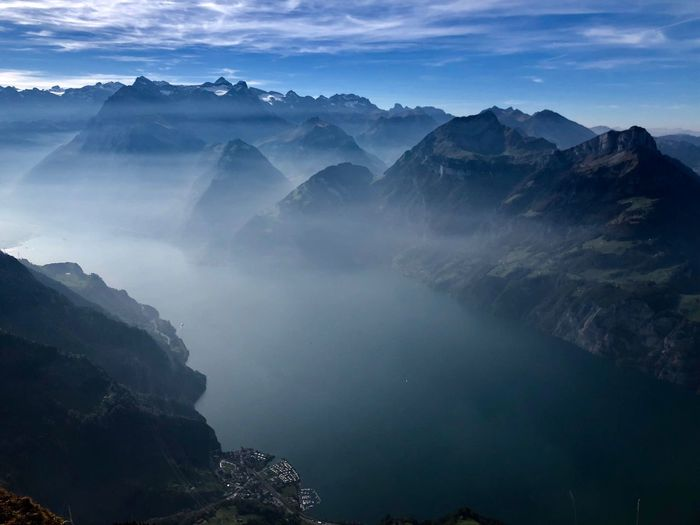 Beauty In Nature Environment Sky Landscape Scenics - Nature Fog Land Nature Mountain Cloud - Sky Mountain Range Plant Rock - Object Outdoors Rock Water
