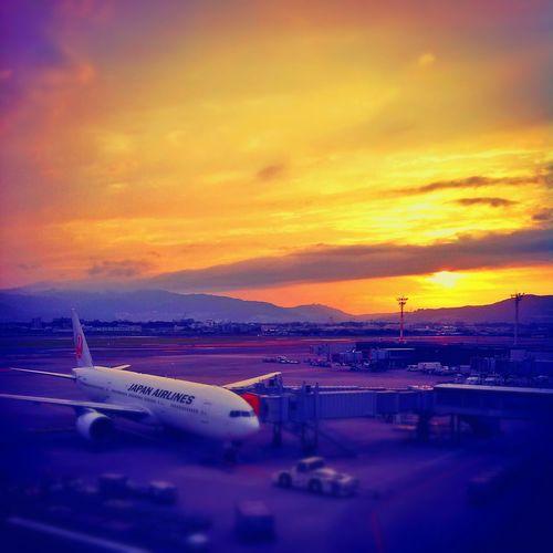 Sunset At The Airport #sunset #sun #clouds #skylovers #sky #nature #beautifulinnature #naturalbeauty #photography #landscape Shingo4549