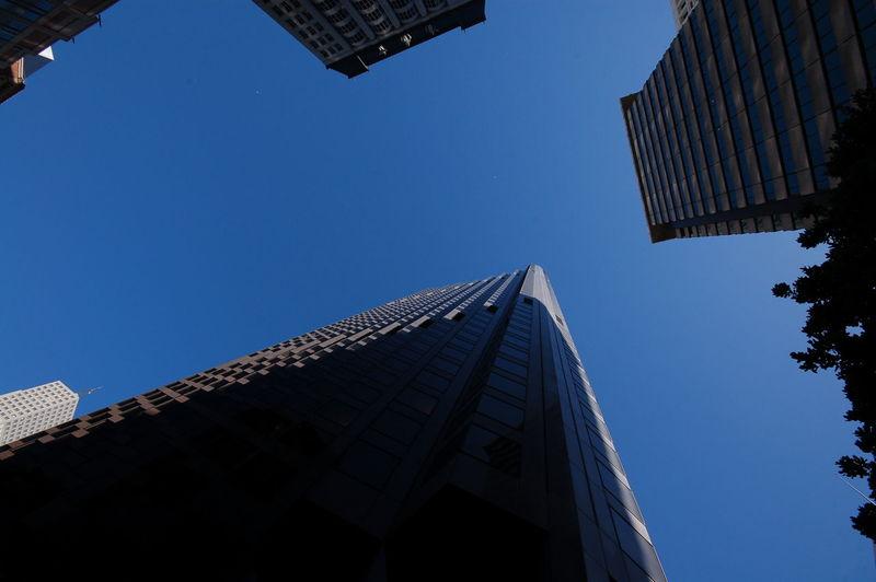 USA Nofilter San Francisco Frisco Blue Sky Summer Outdoor Architecture Building Deep Blue Skycraper Towers Wormseyeview