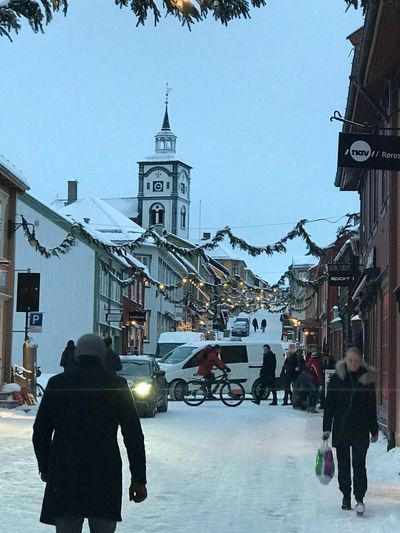 Christmas dekoration in Röros Norway The Week On EyeEm Visiting Norway Christmas Around The World Old Town Building Exterior Architecture Built Structure Walking Real People Rear View Street