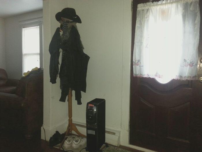 Window Indoors  Day Coat Coathanger Hat Scarf Living Room Door Curtain