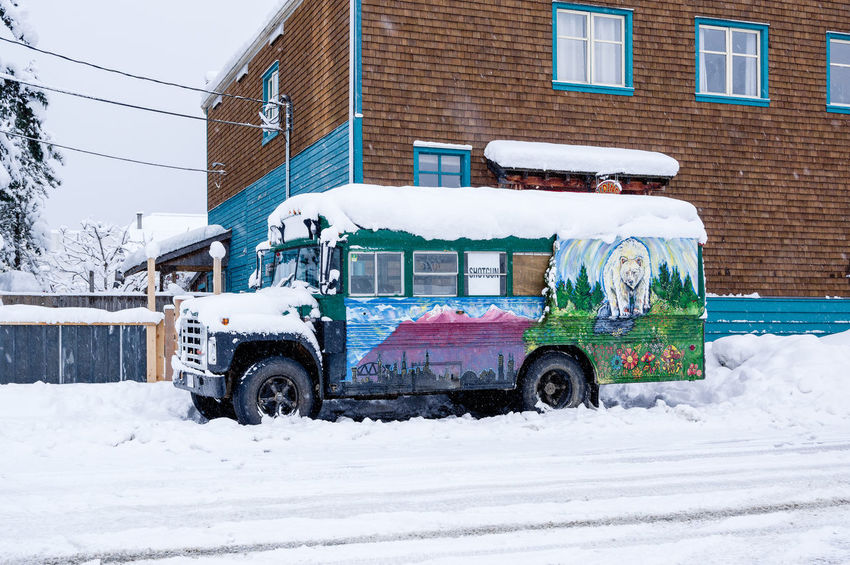 Built Structure Bus City City Street Cold Temperature Commercial Land Vehicle Day Land Vehicle No People Outdoors Snow Winter