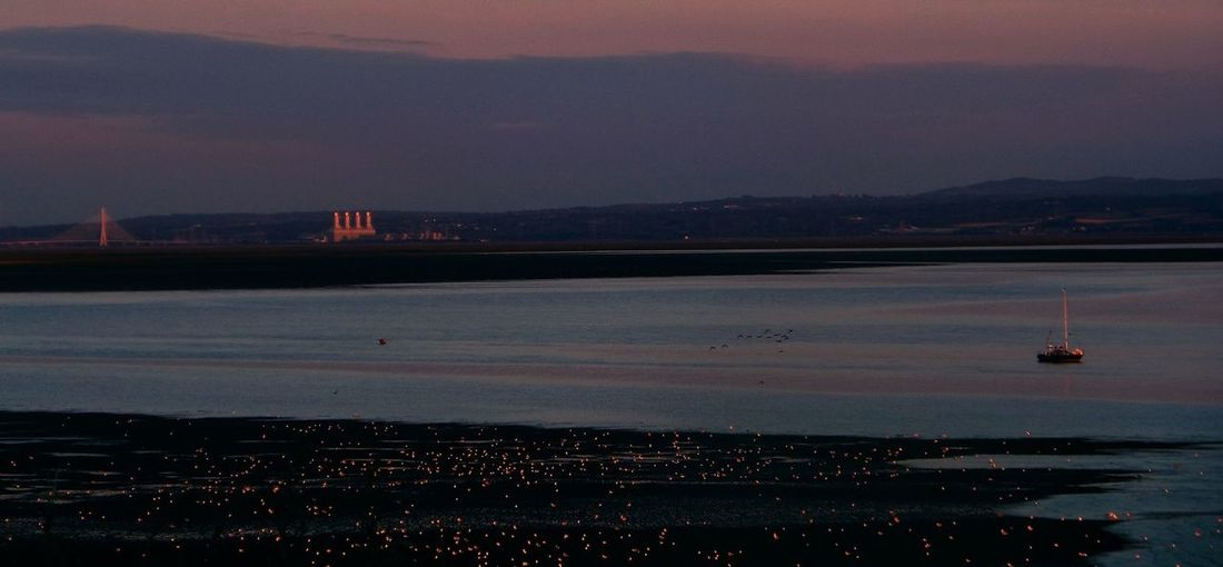 Industrial Architecture Beach Beauty In Nature Boats City Cityscape Day Dee Estuary Industrial Landscapes Li-up Seashore Birds Mountain Nature Nautical Vessel No People Outdoors Pink And Blue Landscape Pink Birds Scenics Sea Sky Sunset Transportation Water