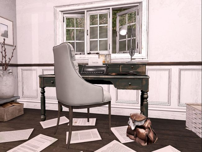 A vintage White office. From Secondlife Virtual World. Bright Room Home Office Home Office Day Switzerland Messy Office Secondlife Vintage Office Virtual Reality Virtual Reality Office Virtual World VR Art VR Office VR Wor White Background White Office' Window And Office