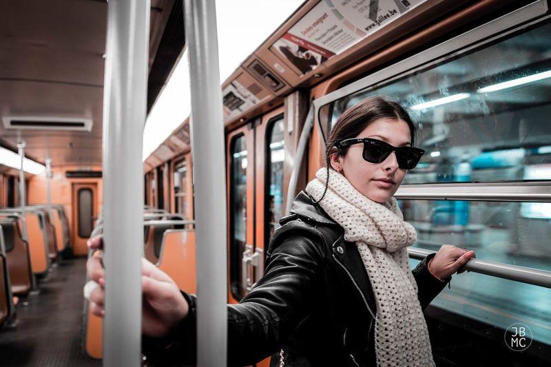 Full length of woman in train