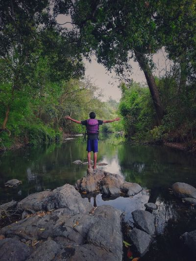 Get Lost in the woods. Outdoors Casual Clothing Beauty In Nature Full Length Reflection Leisure Activity Day Men Human Arm Standing