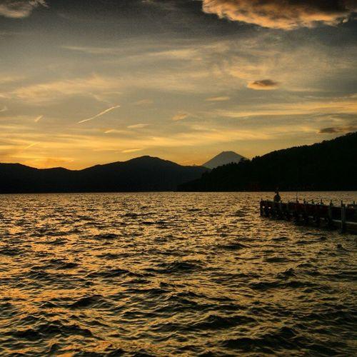 Lake Ashi with Mt. Fuji Sunset Lake Japan Kanagawa Mtfuji Ashi