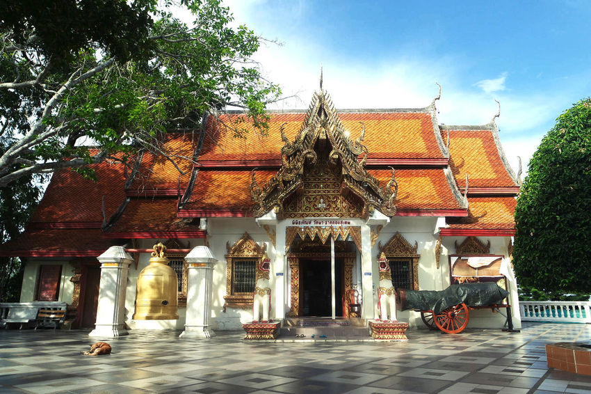 Architecture Building Building Exterior Built Structure Cultures Day No People Outdoors Pagoda Place Of Worship Religion Sky Spirituality Statue Temple Thailand Travel Destinations Tree Vacations