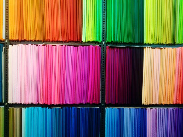 Full Frame Image Of Multi Colored Fabric At Rack